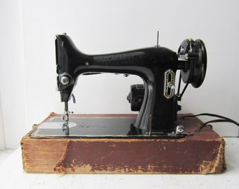 Antique Modern Electric Sewing Machine with Case