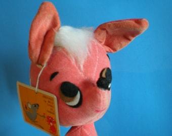 Vintage Mid Century Pink Kamar Stuffed Animal - Miss Aussie - Made In Japan