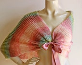 Pastel Bridal Cape-Hand Knit Loop Scarf/Shawl -Shades of Pink-Earth-Green  Neckwarmer/ Cowl -Multicolor Cape