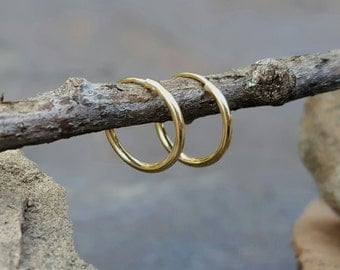 Tiny Gold Hoops Tiny 14K Hoop Earrings 14K Hoops Earrings Small Gold Hoops Tiny Hoops 10mm Women Men Unisex Gift Solid Gold Little 14K Hoops