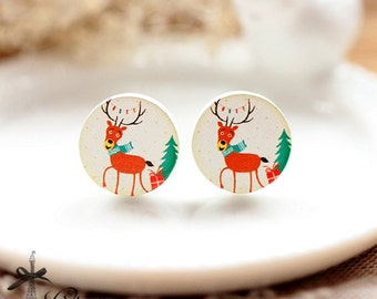 50% off- 16mm 20mm 10PCS 20PCS 50PCS 100PCS Christmas deer  Round Handmade Photo Wood Cut Cabochon - (WEH-353)-(Back White)