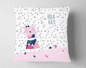 Personalized Name Cat Kitten Nursery, Girl Room Navy Pink ,  Spanish Name Pillow, Scandinavian Nursery Pillow , Personalized Baby Girl