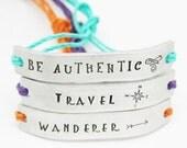 SET of 12 Friendship Bracelets BFF Custom Hand Stamped Friends Name Tie On Hemp Cord Personalized