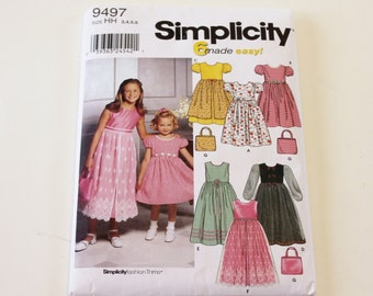 Girls Purse and Dress Pattern 2000 Simplicity 9497: Child's and Girls' Purse and Dress with Optional Petticoat Sizes 3,4,5,6 UNCUT