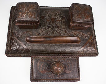 Vintage Hand Tooled Leather Desk Set -PRICE REDUCED