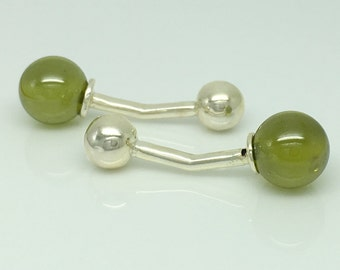 Gemstone cufflinks, green glass sphere cufflinks, wedding cufflinks, groom cufflinks, sterling silver cufflinks, mens cufflinks