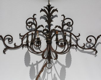 Vintage Metal Black Gothic Haunted House Wall Sconce Large Electric 7 Bulb Halloween Party Spooky Spanish Medieval Castle Decor