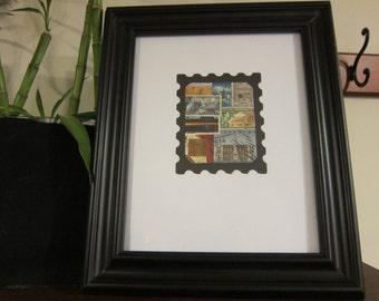 Postage Stamp Art - Used Postage Stamps - Framed Postage Stamp Art - Wall Art - stamp collector