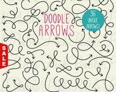 Sale! Doodle Arrows Clipart Clip Art, Hand Drawn Curly Arrows Clipart Clip Art Vectors - Commercial and Personal Use