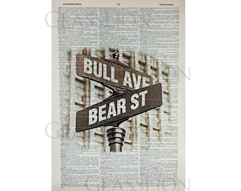 Stock Market Bull Ave. and Bear St. Print on a Vintage Dictionary Page