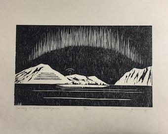Hurtigruten - original woodcut