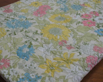 Vintage Twin Size Quilted Bedspread, blue, pink, yellow, white, green