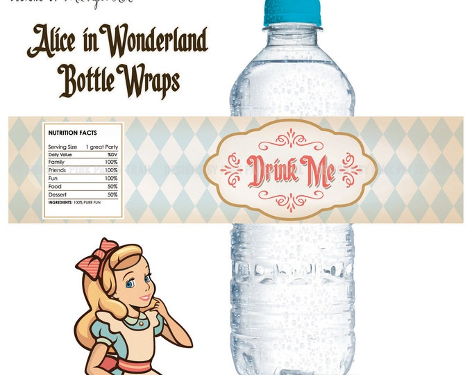 Alice in Wonderland Bottle Wraps, Drink Me Bottle Label, Instant Download, Print Your Own