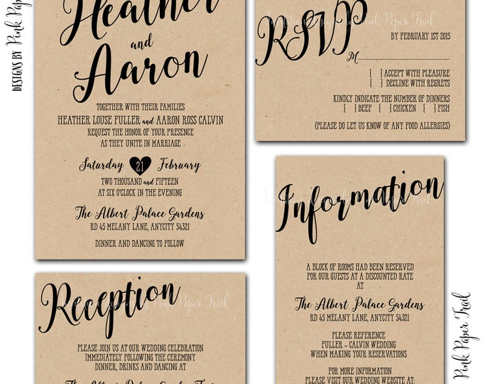 Printable Rustic Wedding Invitation Suite v.2, Chalkboard, Kraft, 4pcs. Set, Calligraphy Style, I will customize for you
