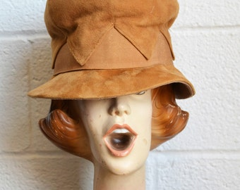 Soft Tan Cloche Hat 1960s Mod Hat Brown Suede Look Cloche with Short Brim by Betmar