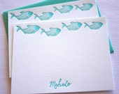 Fish Letterpress Cards Aloha Mahalo Aqua Blue