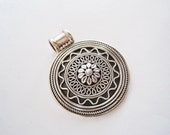 Indian Pendant - Vintage Round  Circular Sterling Silver Pendant - Scroll Work - Large Bale - India Jewelry