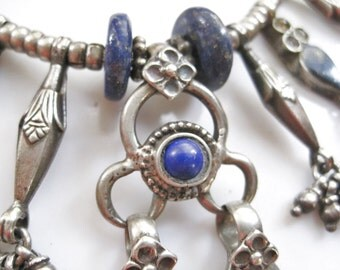 Tribal Necklace, Afghani Choker, Silver and Lapis Lazuli, Grooming Kit, Tribal Jewelry, Ethnic Jewelry