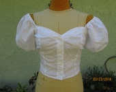 On hold for Holly- 1990s eyelet cupcake sleeve country bumpkin crop top