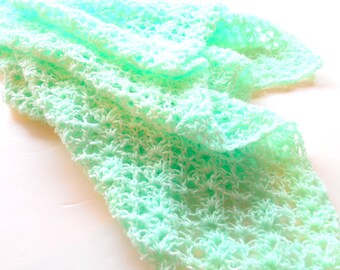 Crochet Baby Blanket, Stroller/Car Seat/Travel Size Infant Blanket, Pale Green Crocheted Blanket