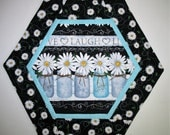 CIJ Daisy Table Topper, with Canning Jars made with Timeless Treasures Fabric