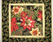 Christmas Table Topper, Poinsettias Lillies, Reversable from Kaufman Holiday Flourish