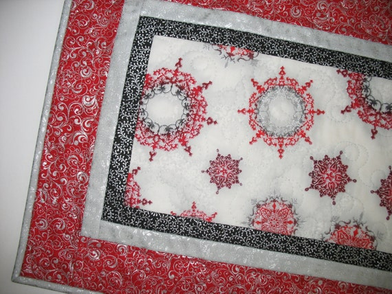 Snowflake Table Runner Elegant Winter Christmas quilted