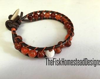 Leather Wrap Bracelet - Diffuser Jewelry - Aromatherapy Bracelet