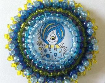 Uggiebugs illustration wearable art brooch pin badge,fun kids adult jewellery