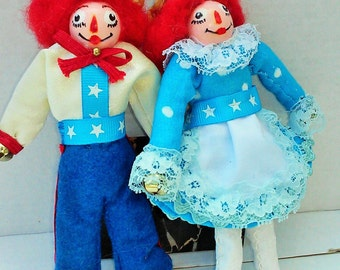 Raggedy Ann and Andy dolls ,ornament, Fall decor, ooak art dolls ,original party decor ,4th of July decor, memorial day patriotic