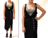 90s Vintage Black Wrap Dress size Medium// Black Vintage Wrap Dress size Medium Midi Sundress