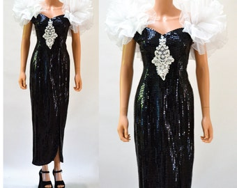 80s Prom Dress Size Small Black// 80s Vintage Black Metallic Evening Gown Dress Size Small//  80s Black Sequin Pageant Dress Black And White