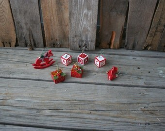SUPER SALE - Set of Seven Vintage Wooden Christmas Ornaments