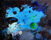 Surreal Starry Sky Girl Original Painting Outer Space Whimsical Abstract Black Blue Artwork Earth Bubbles