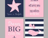 Nautical Nursery Baby Girl Decor, Make a Wish Upon a Starfish, Whale Nursery, Navy and Pink Nursery, Dream Big Little One, Nautical Wall Art