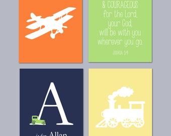"Transportation Wall Art, Train Wall Art, Airplane Nursery, Transportation Prints, Baby Boy Nursery Art, Boy Room Decor, Set of four 8""x10""s"