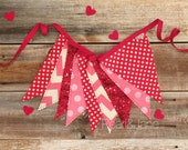Valentine Pennant Banner, Bunting, Garland - Red and Pink Designer Fabrics, Sequin