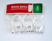Vintage Shiny Brite Mini Plastic Reindeer, Shiny Brite White Dot 2 inch Deer, Glitter House Putz Diorama Reindeer