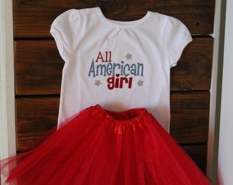 All American Girl Outfit (Shirt, hairbow, tutu) 4th of July