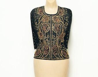 Vintage  70's  Blouse / Vintage Black Top / Shirt 80s / embroidered blouse / Indian  / dress / boho / Indian / Hippie / Tunic Bohemian