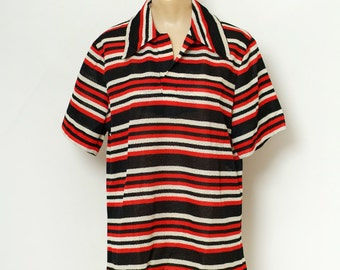 Vintage Men Stripe shirt retro / short sleeves / Pullover  guy clothes / 60s Hippie / Red and White Black / 1960s 60s / gifts for him / Mod