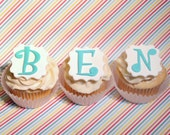 Fondant cupcake toppers Monogram Initial Number Age, fondant letters
