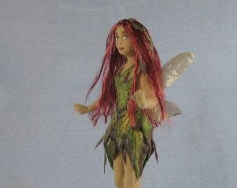 Leaf Fairy Soft Sculpture Miniature Doll by Marie W. Evans