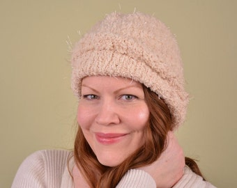 KNIT HAT- Champagne- riot eyelash yarn