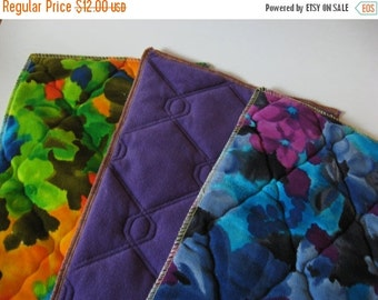 40% SALE Three complimentary quilted polyester fabric samples lovely vintage florals bedspread housecoat