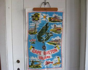 NWT mid century vintage Cape Breton souvenir linen tea towel Poland original sticker