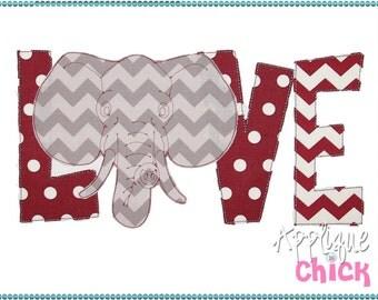 Elephant Love Applique Design