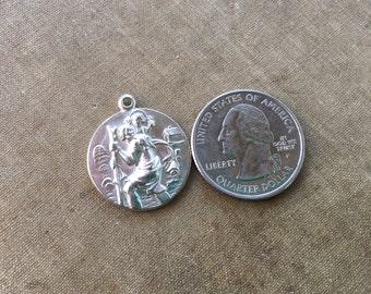 Vintage Saint Christopher Medal Silverplated Brass 22mm