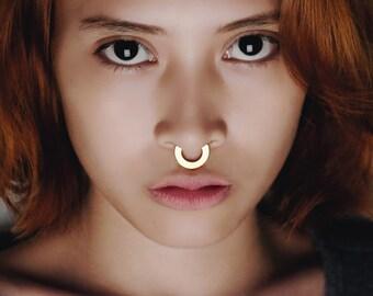 Big Gold Septum Ring - Gold Nose Ring - Ethnic Gold Septum