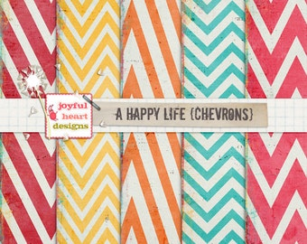 A Happy Life {chevrons} - instant download, digital scrapbooking paper, 12x12 inches, mixed media, web design, blog design, photography :)